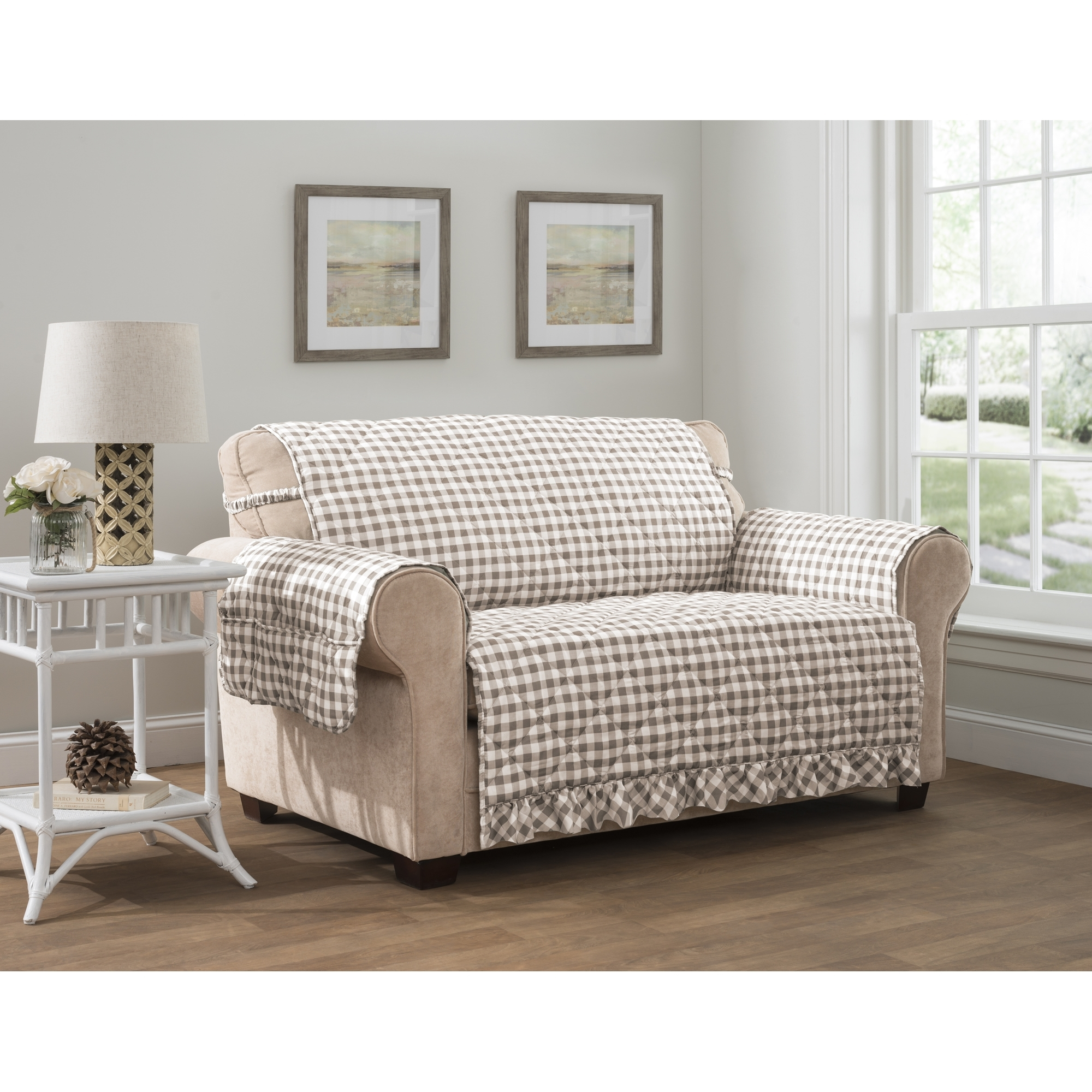 Gingham Sofa Protector By Jeffery Home 124x75 5