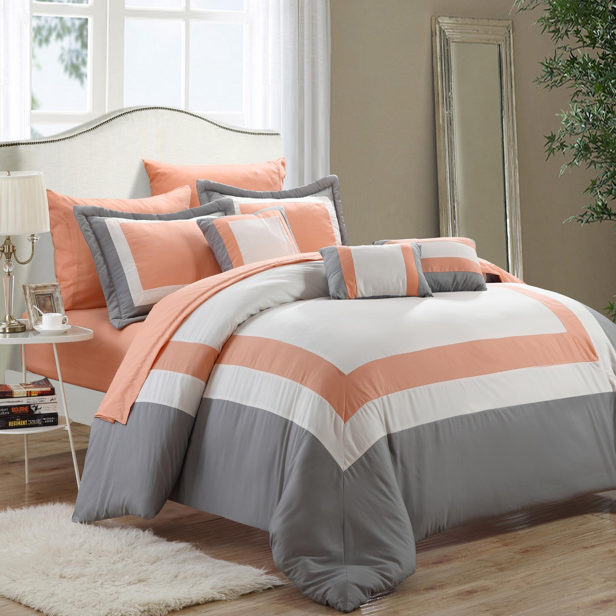 stripes grey orange dark and w xl set in htm gray twin white comforter p