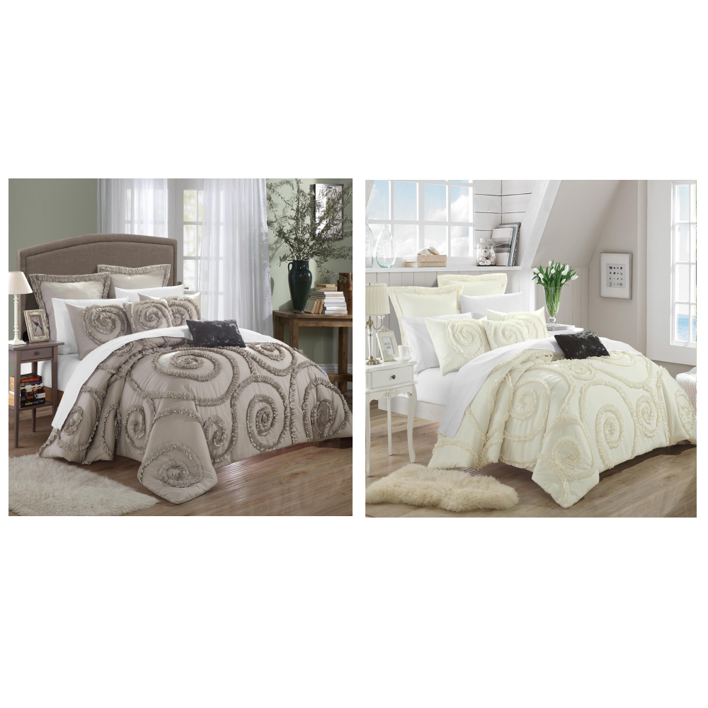 Chic Home Rosalia Ruffled Applique Queen Comforter Bed In A