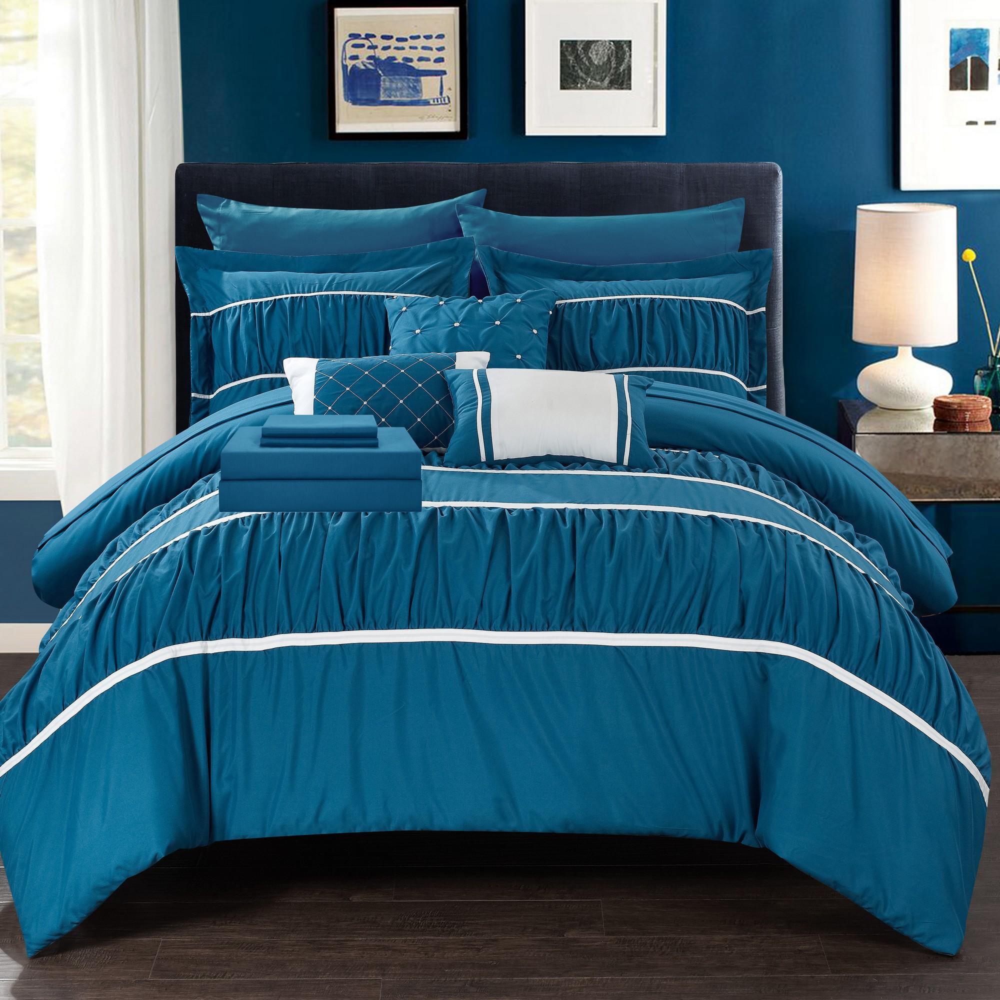 Stieg 10 Piece Comforter Bed in a Bag Sheet Set Decorative P