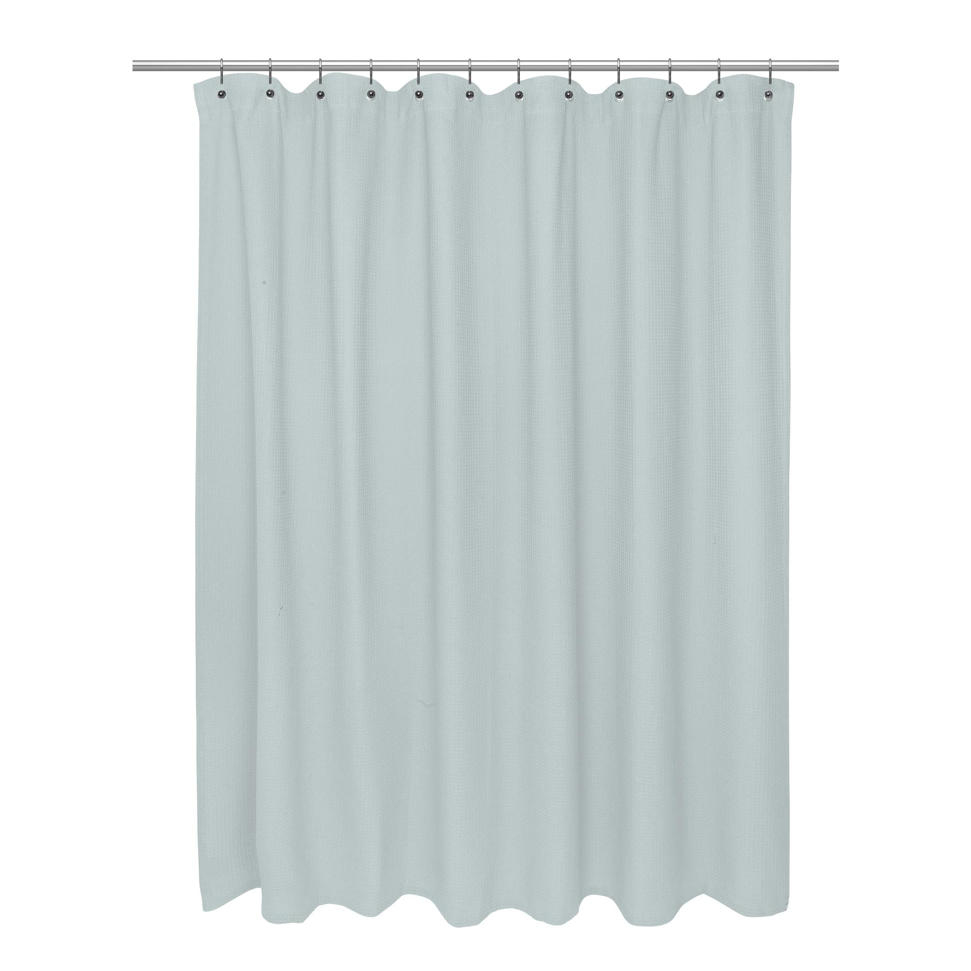 Details About Carnation Home Standard Size 100 Cotton Waffle Weave Shower Curtain Spa Blue