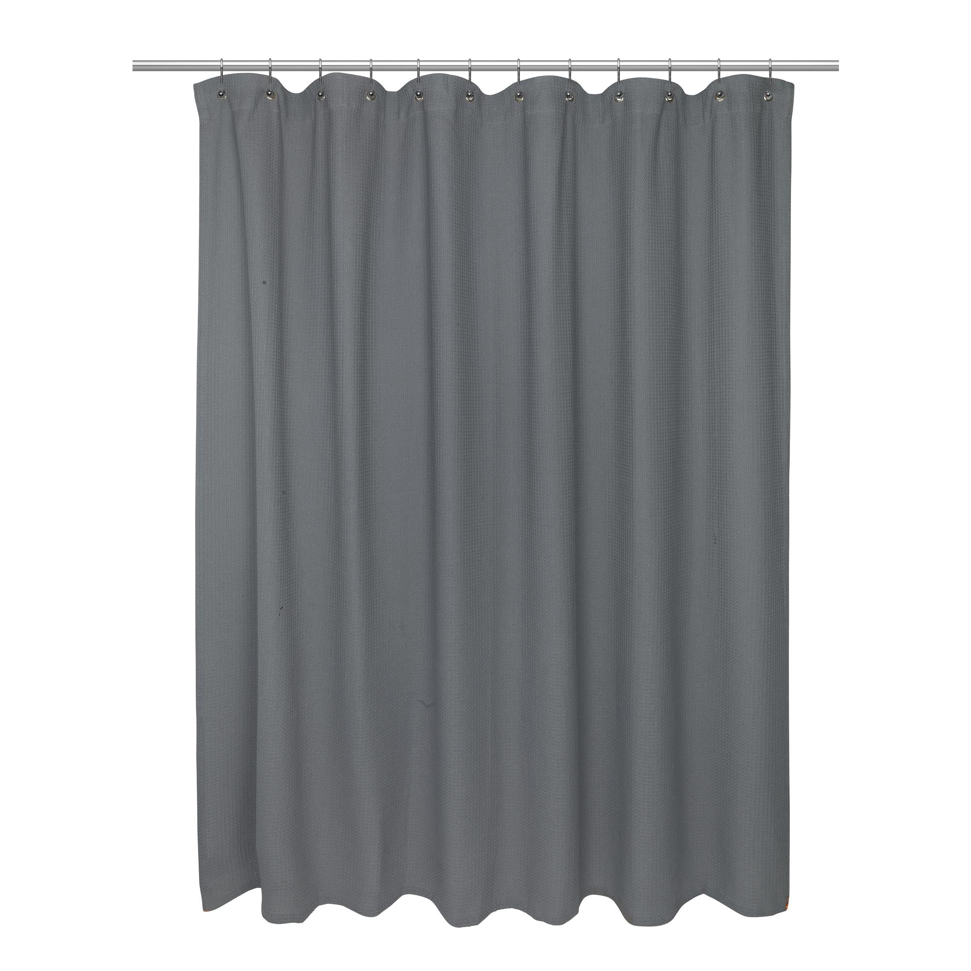 carnation home standard size 100 cotton waffle weave shower curtain pewter 71821000630 ebay. Black Bedroom Furniture Sets. Home Design Ideas