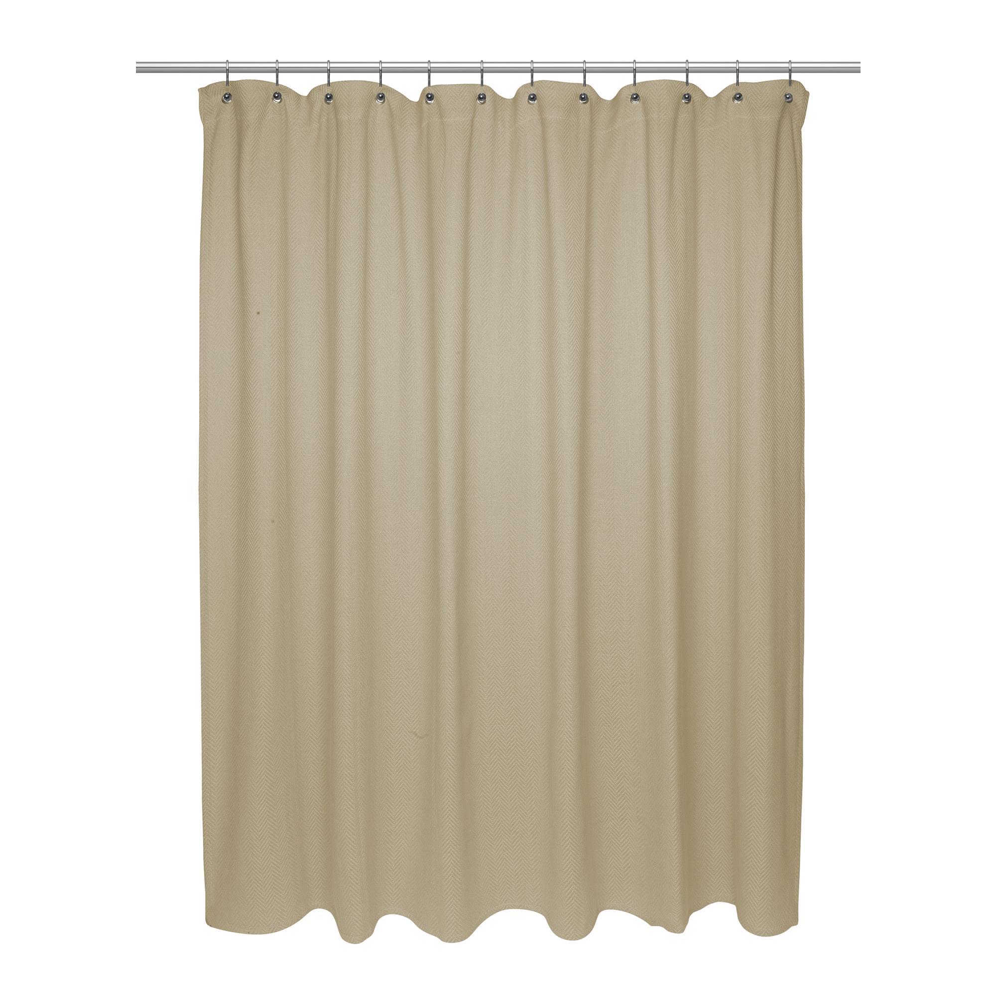 Details About Carnation Standard Size 100 Cotton Chevron Weave Shower Curtain Dark Linen