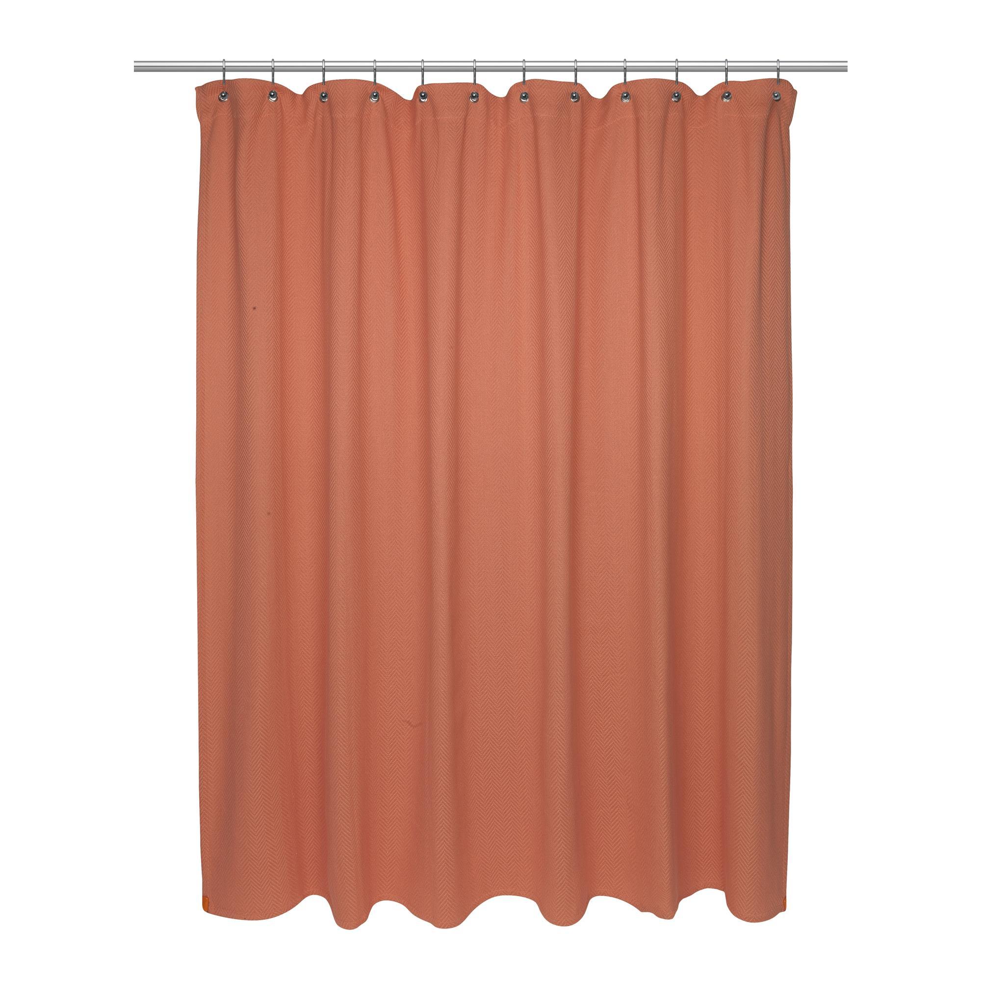 Carnation Standard Size 100 Cotton Chevron Weave Shower Curtain