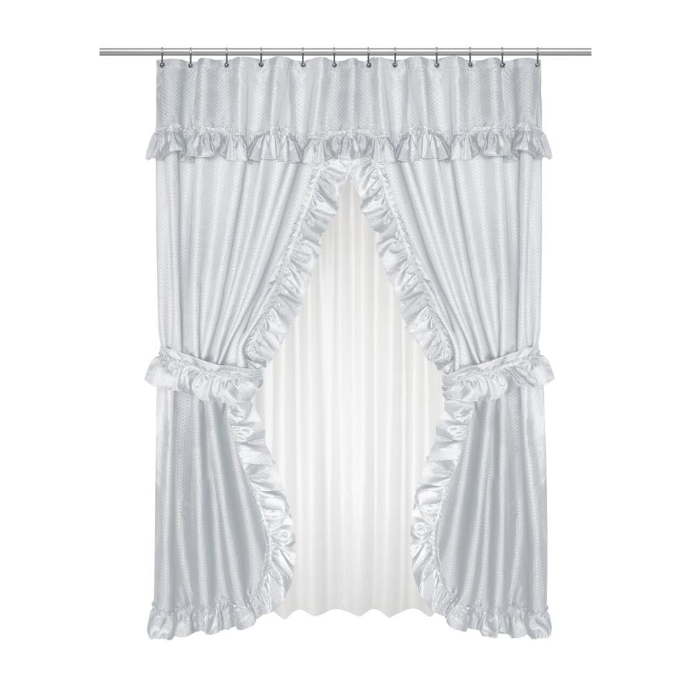 Lauren Diamond Piqued Double Swag Shower Curtain Ruffled Valance 70