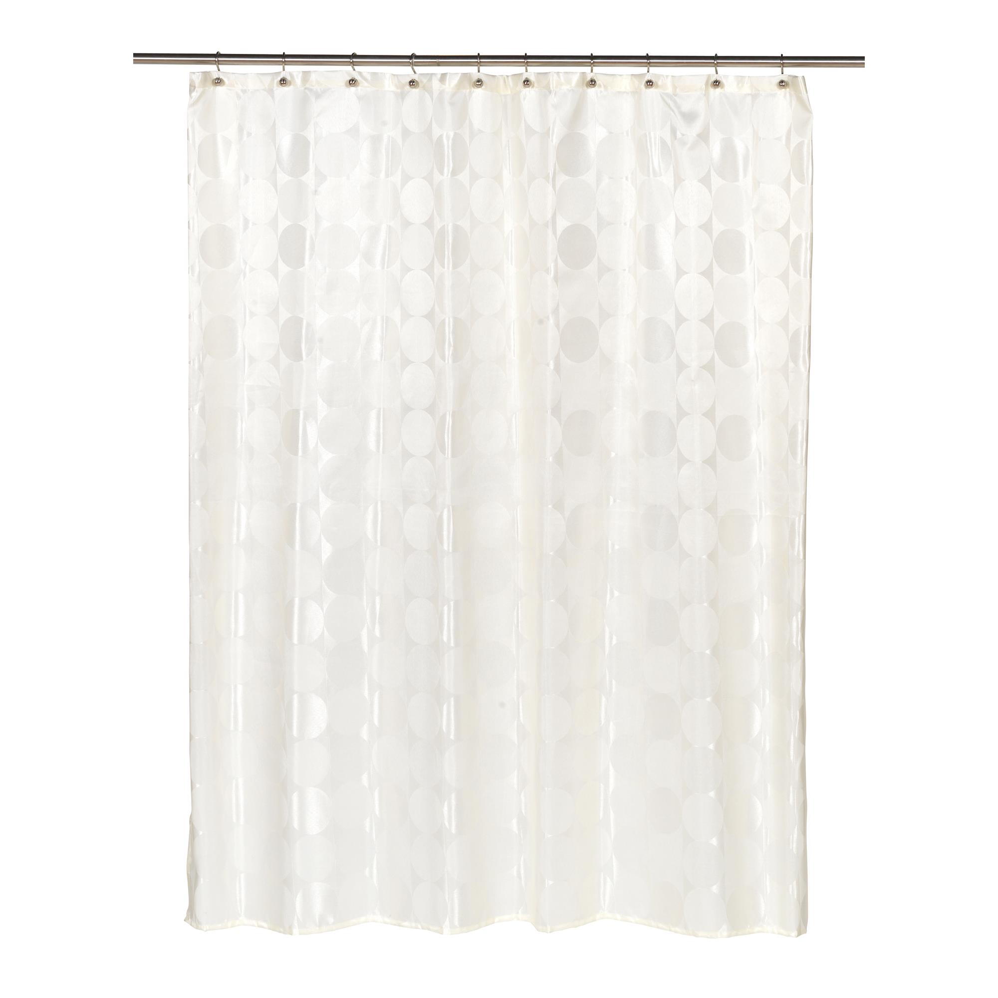Details About Carnation Home Jacquard Circles Fabric Shower Curtain In Ivory