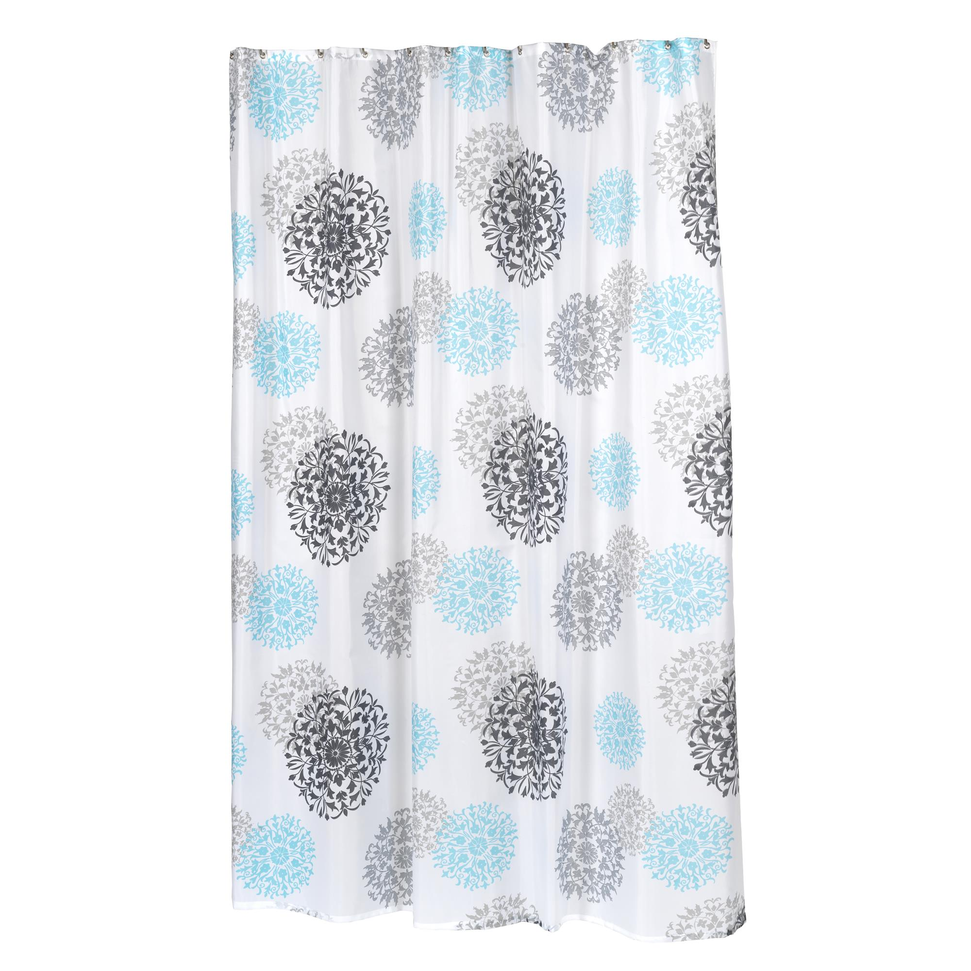 Details About Carnation Home Extra Long Isabella Fabric Shower Curtain