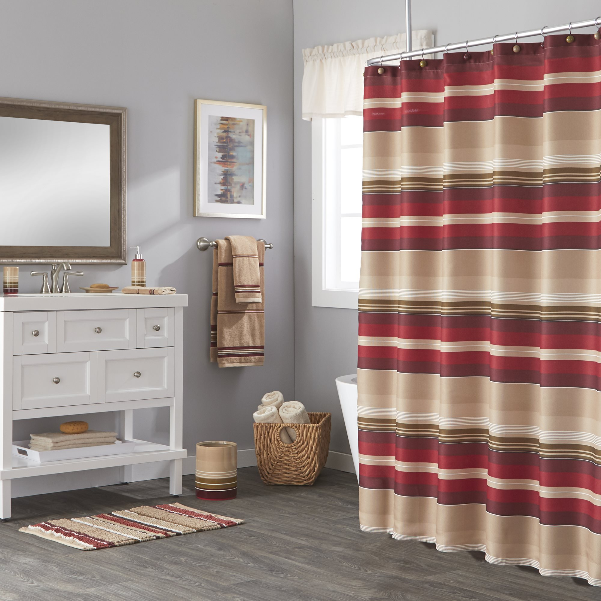 Details About Saturday Knight Ltd Madison Stripe Woven Bath Shower Curtain 72x72 Red