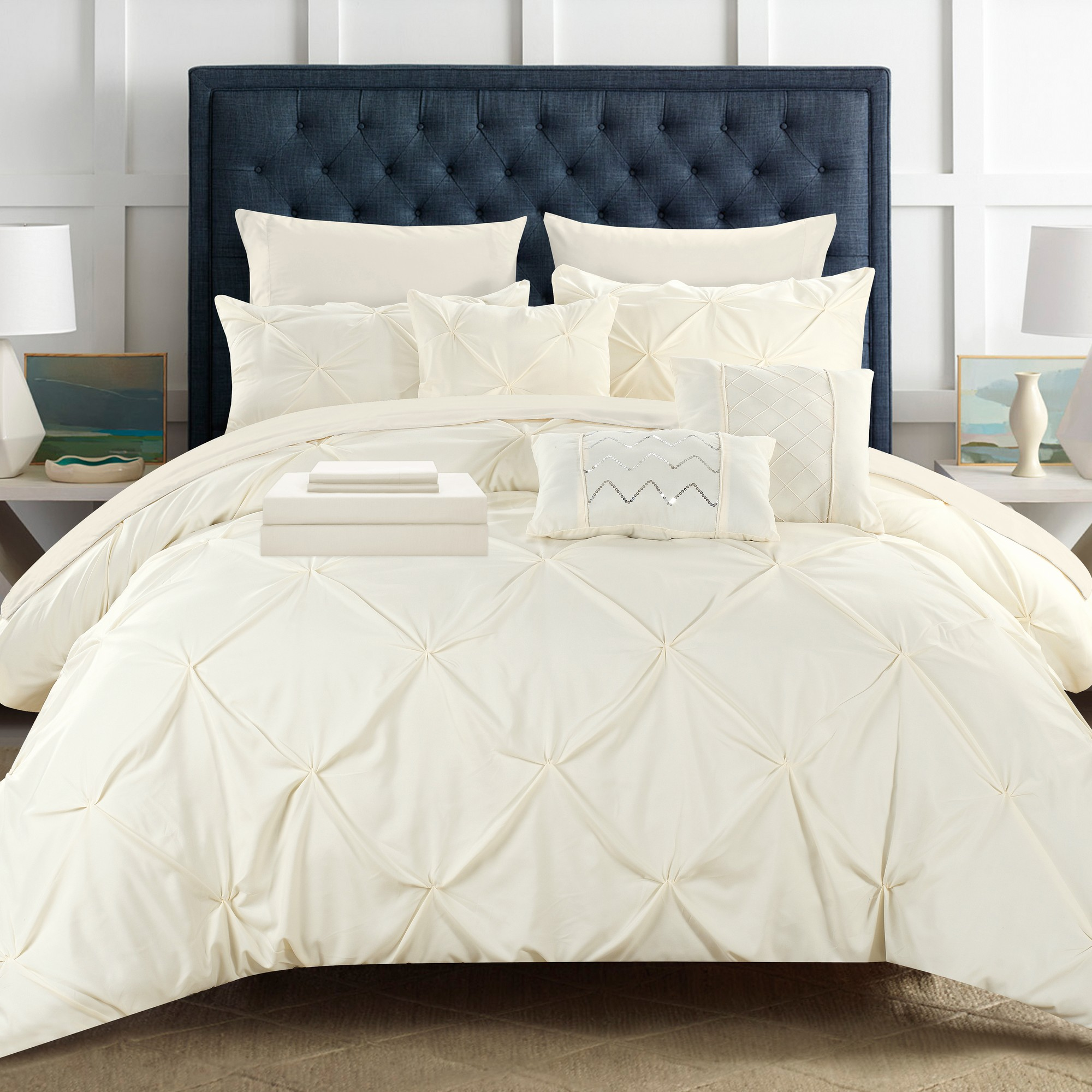10 Piece Mycroft Pinch Pleated Bed In A Bag Comforter Set Sheets Pillows Beige Ebay