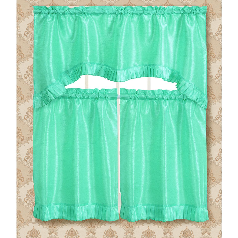 Bermuda Ruffle Kitchen Curtain Tier Set Fits Window Up to 55\'\' Wide ...