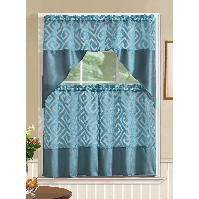 Riviera Printed Faux Silk Tier and Valance Kitchen Curtain Set   eBay