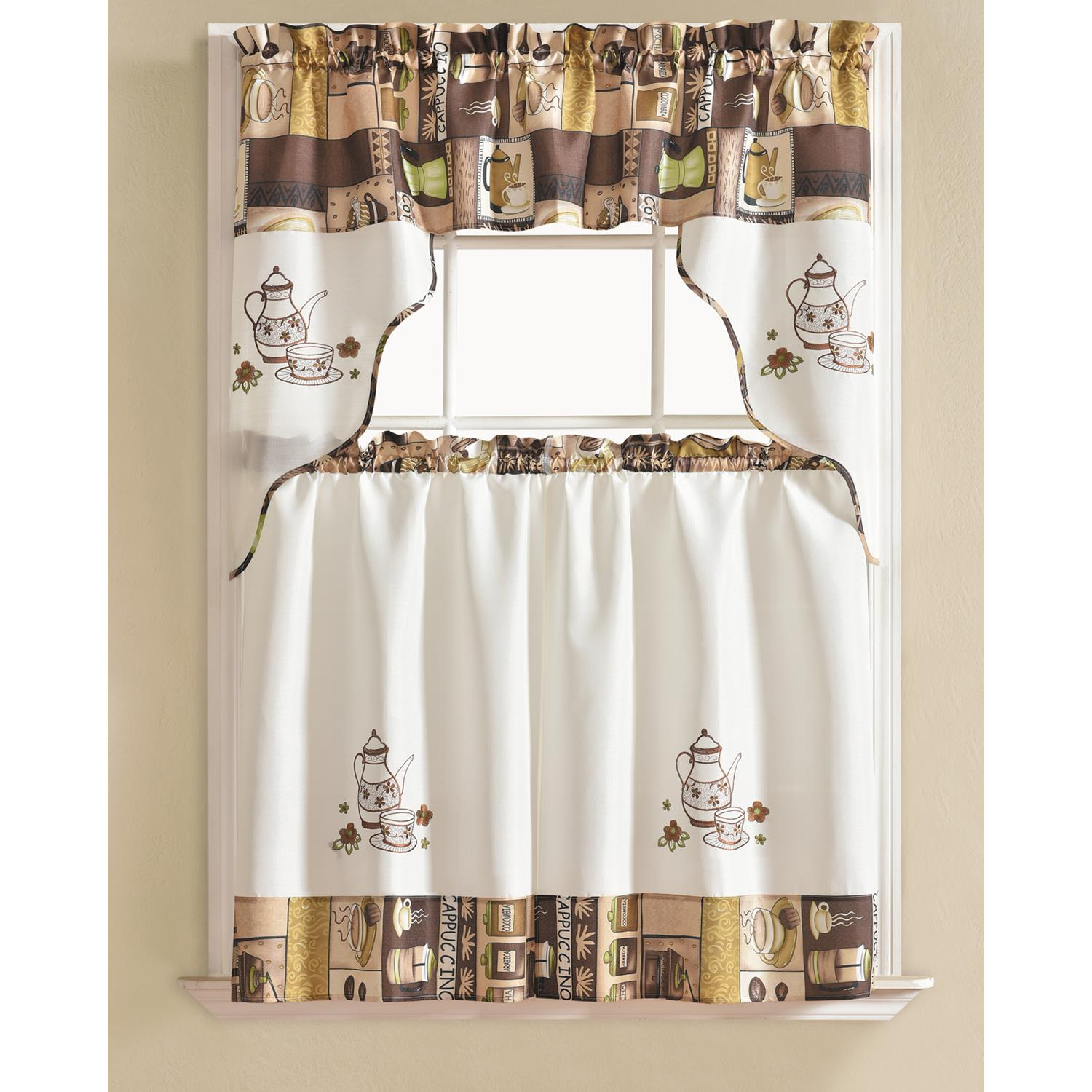 urban embroidered coffee tier and valance kitchen curtain
