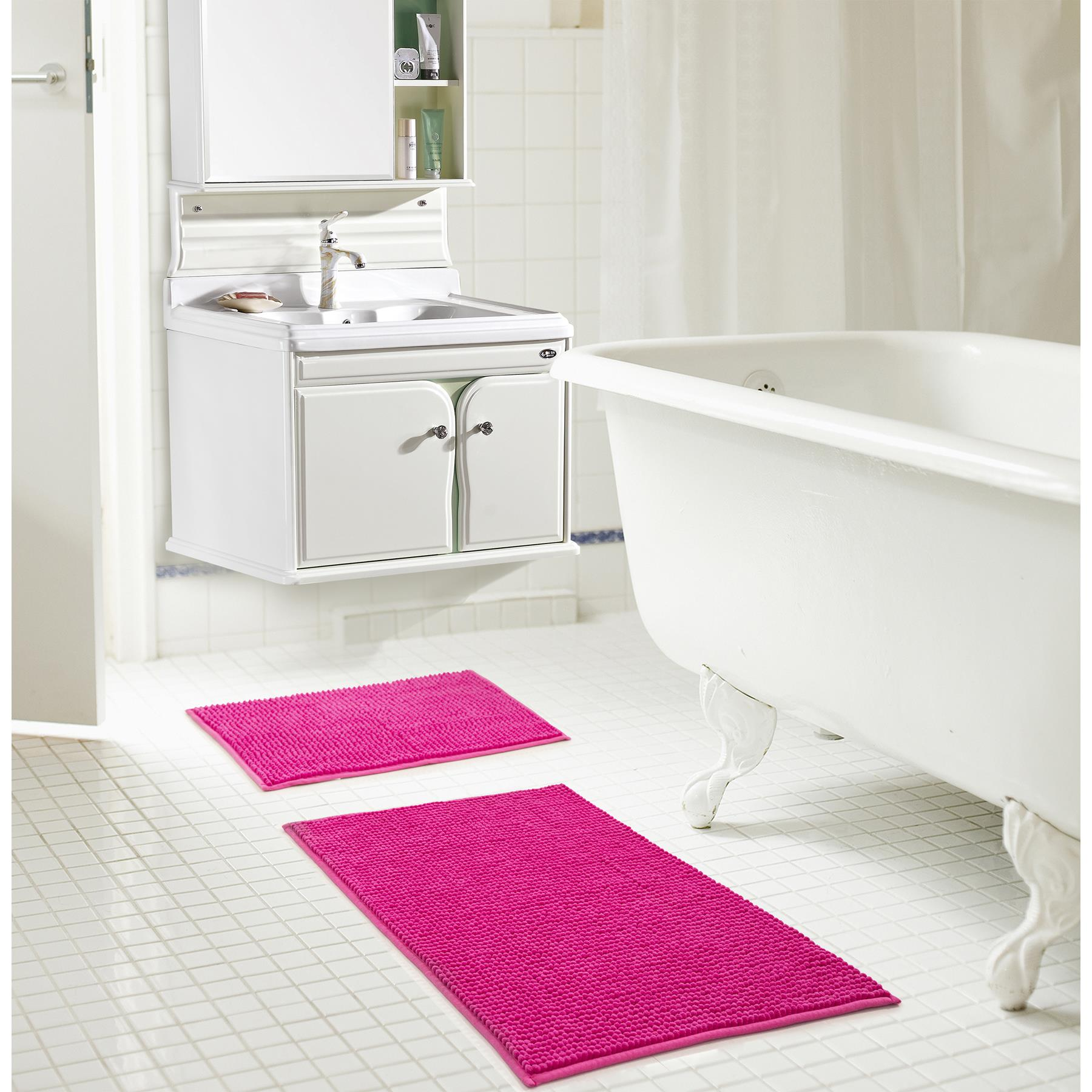 RT Designers Collection Kara Chenille 2 Piece Bath Mat Rug Set 17x24 ...