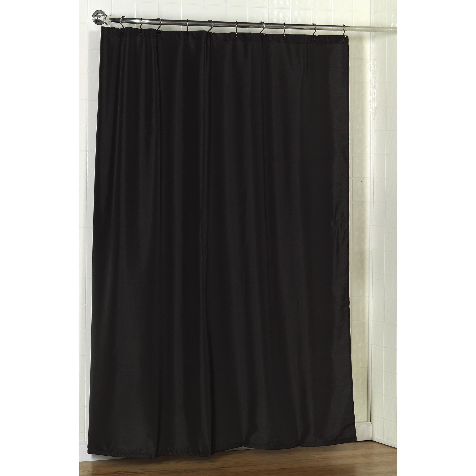 Details About Carnation Home Standard Sized Polyester Fabric Shower Curtain Liner In Black