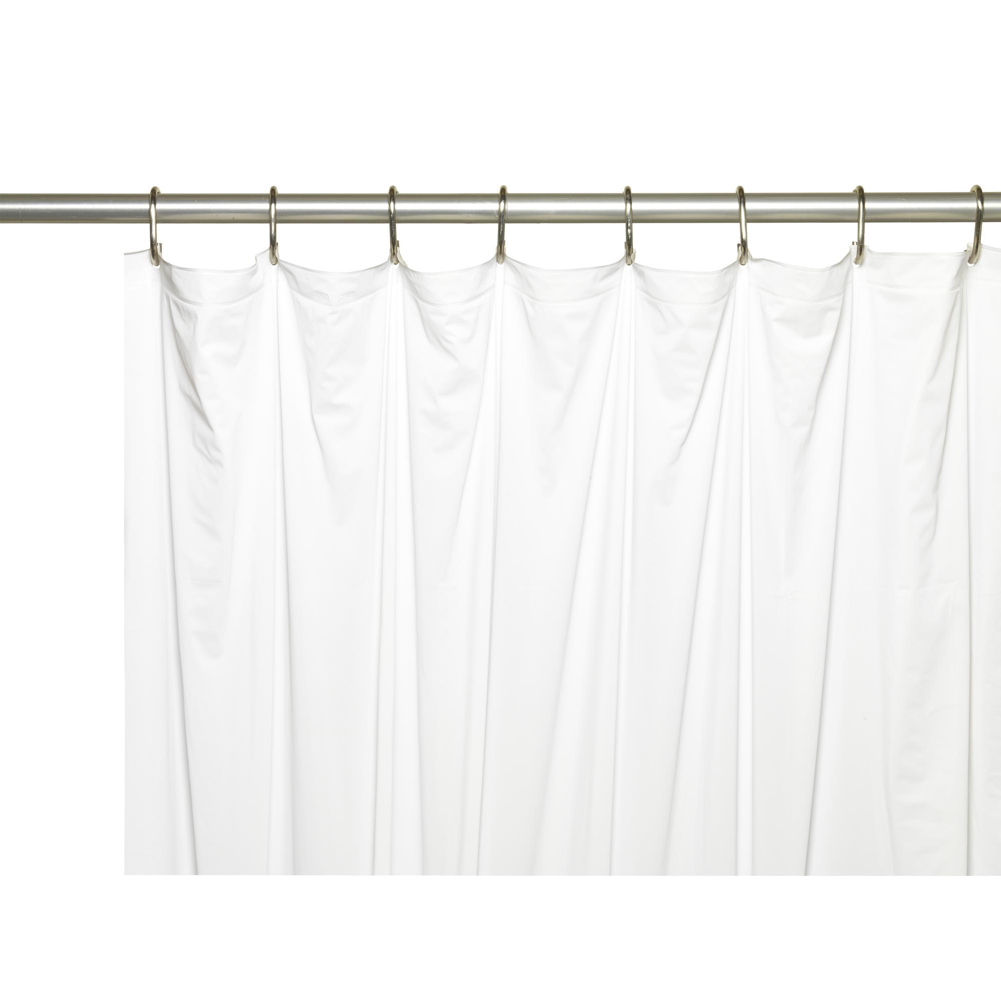 5 Gauge Vinyl Shower Curtain Liner in White Carnation Home Shower Stall-Sized
