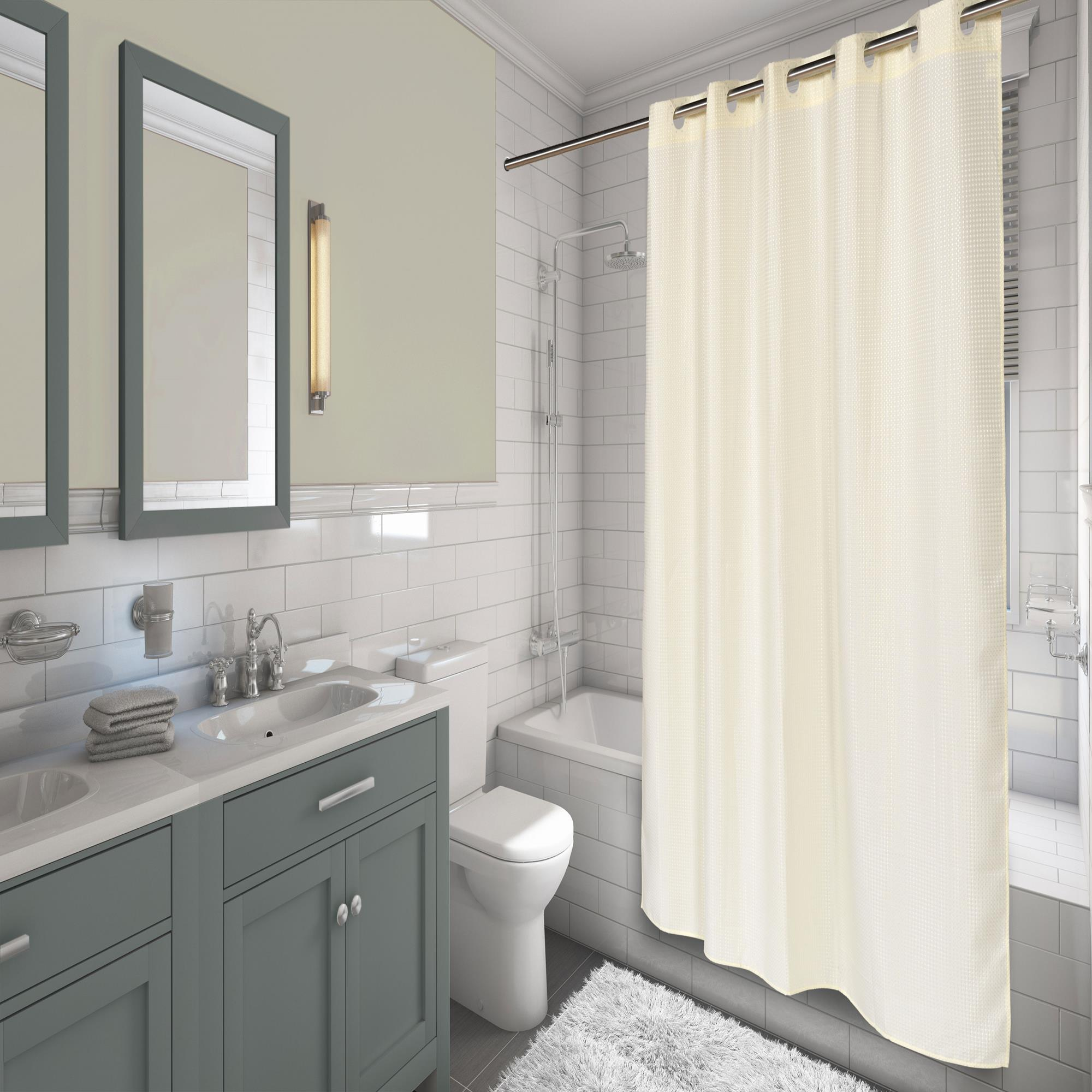 Carnation Home EZ ONR Waffle Weave Polyester Shower Curtain In Ivory