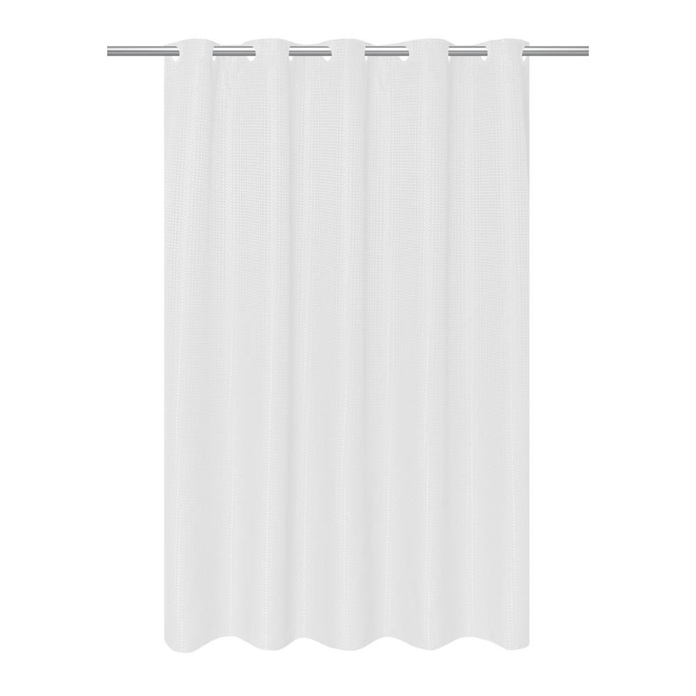 EZ-on Waffle Weave Fabric Shower Curtain with Built in Snap Off ...
