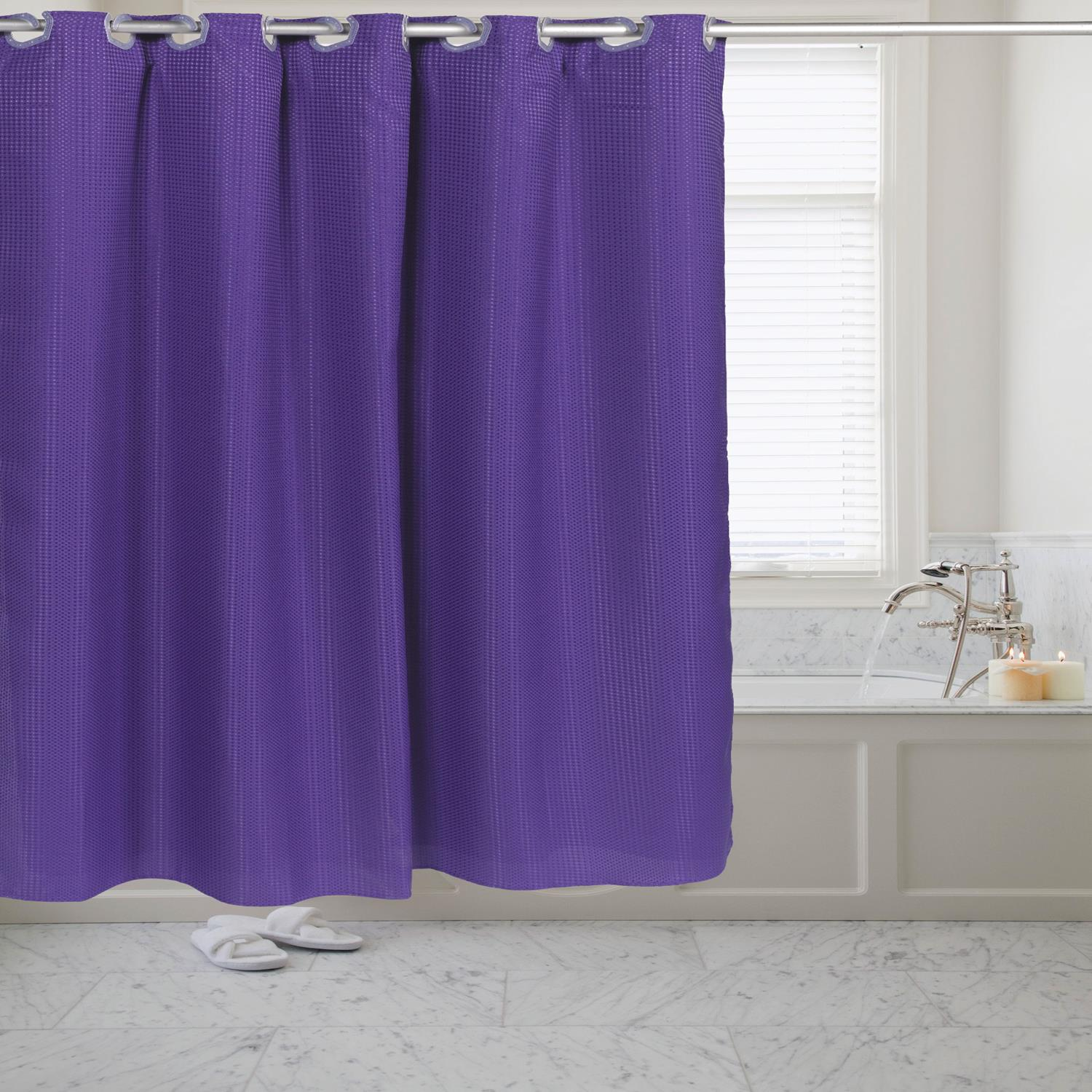 Details About Carnation Home Pre Hookedt Waffle Weave Fabric Shower Curtain In Purple