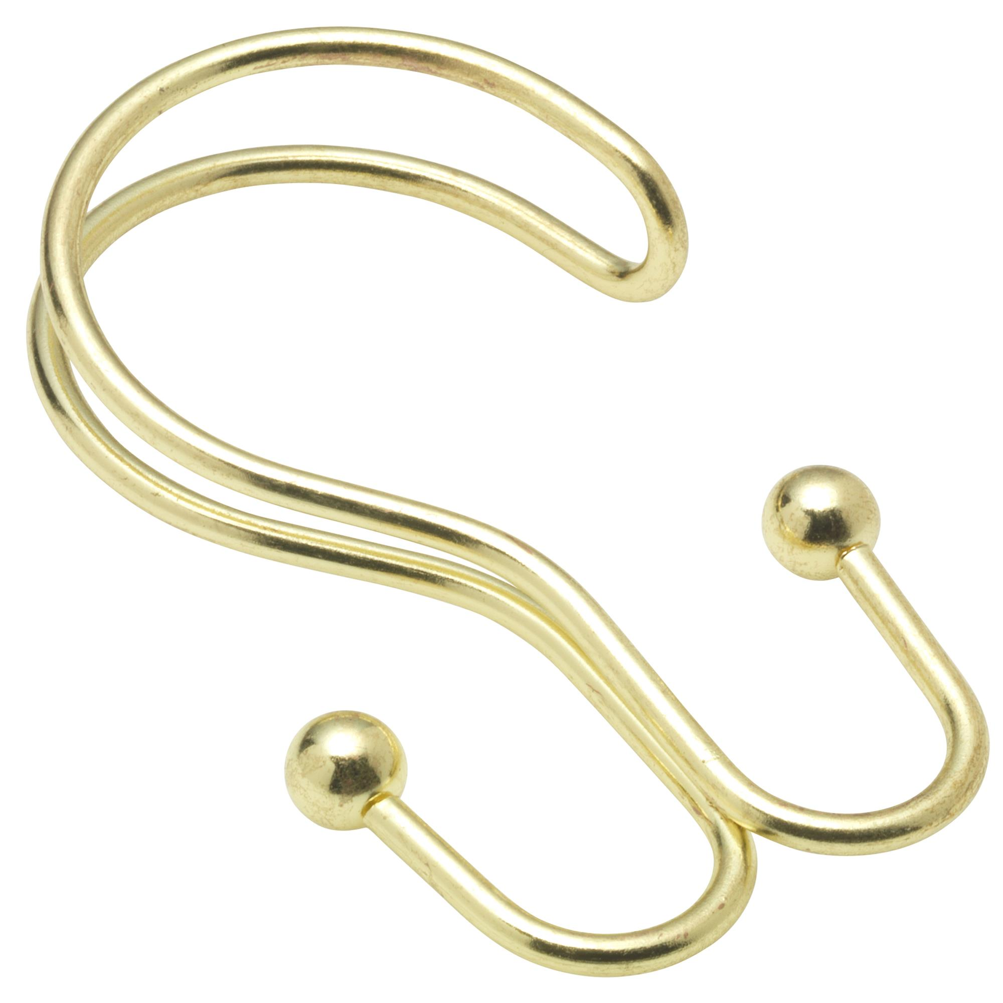 Details About Carnation Home Double Shower Curtain Hook In Brass