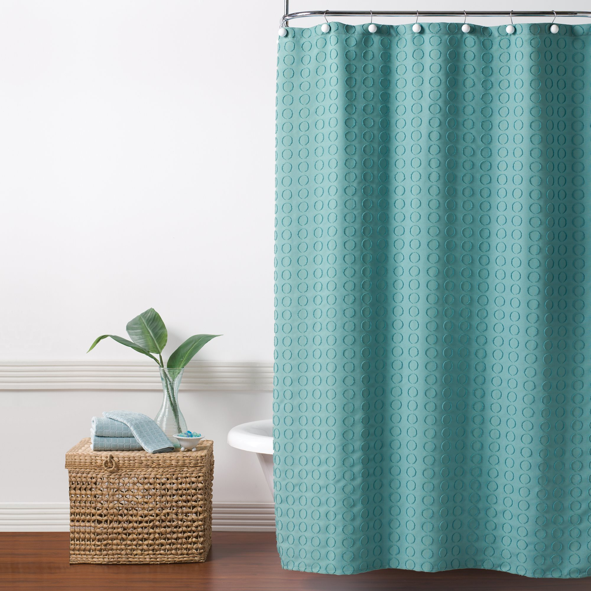 Details About Saturday Knight Ltd Clipped Circles Fabric Bath Shower Curtain 70x72 Teal