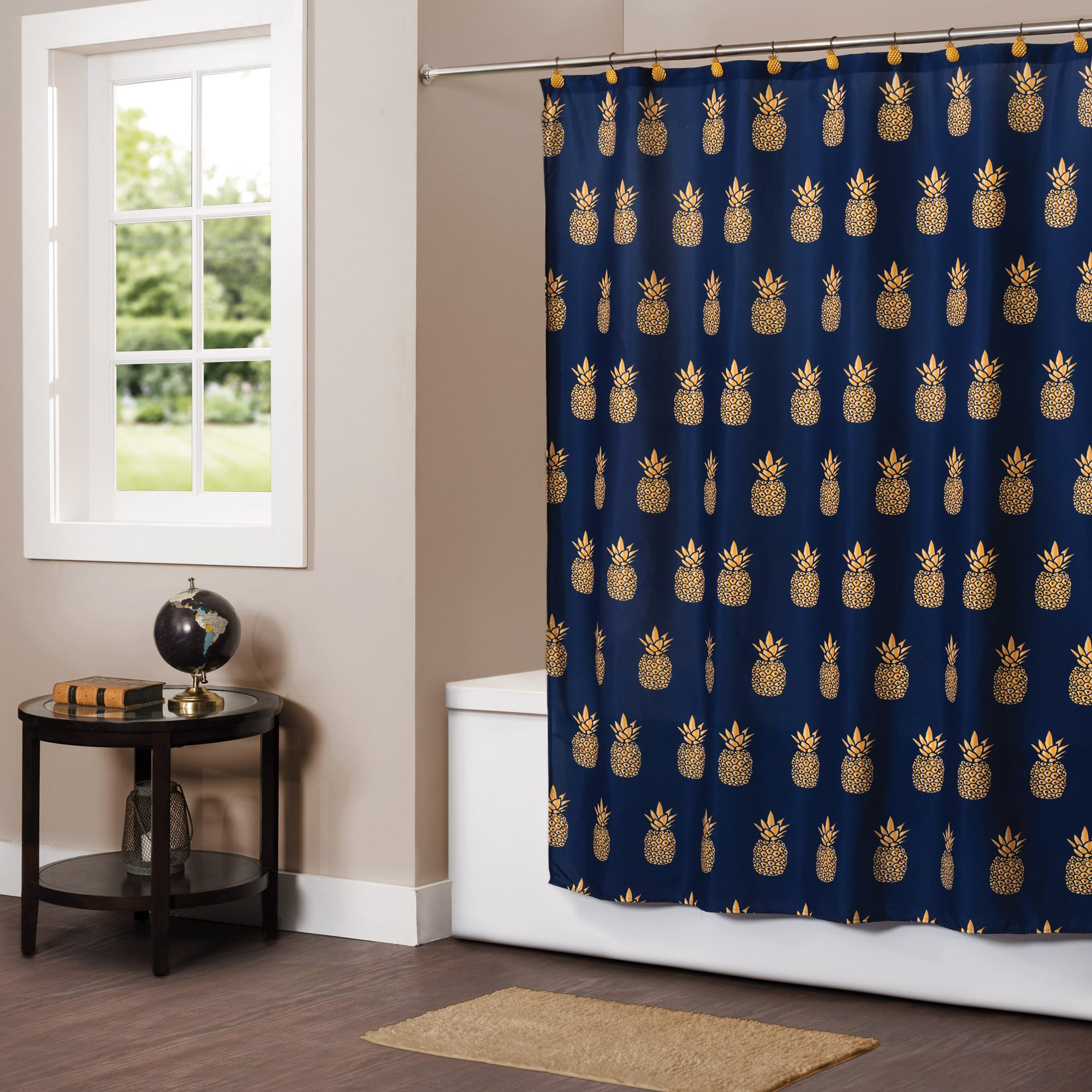 Details About Saturday Knight Ltd Gilded Pineapple Fabric Bath Shower Curtain 72x72 Blue
