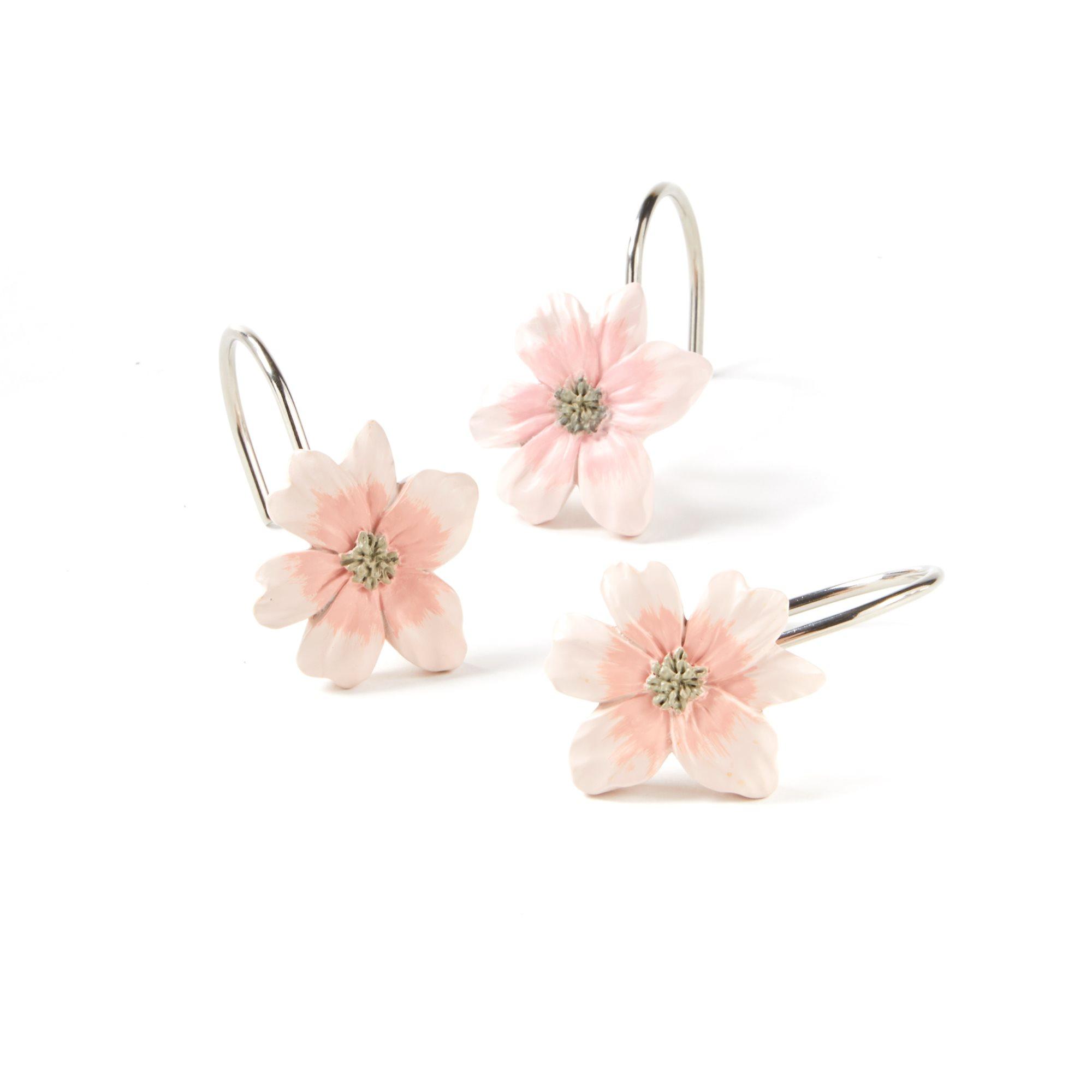 """Saturday Knight Ltd Misty Floral Bath Shower Curtain Hooks 2.75x3.79x6.97/"""" Pink"""