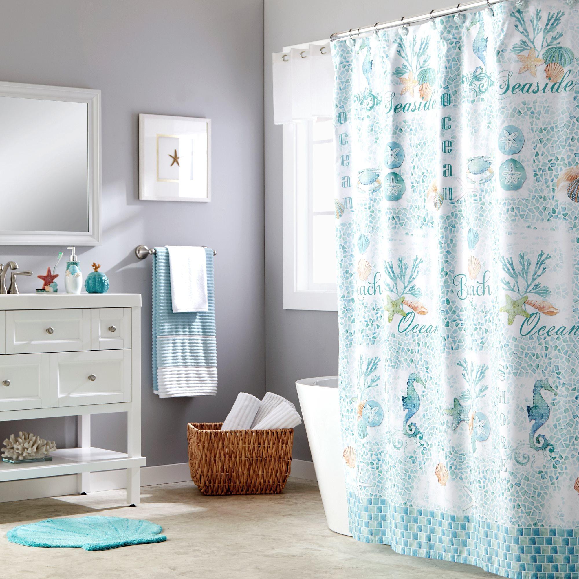 Details About Saturday Knight Ltd South Seas Beach Life Fabric Bath Shower Curtain 70x72 Teal