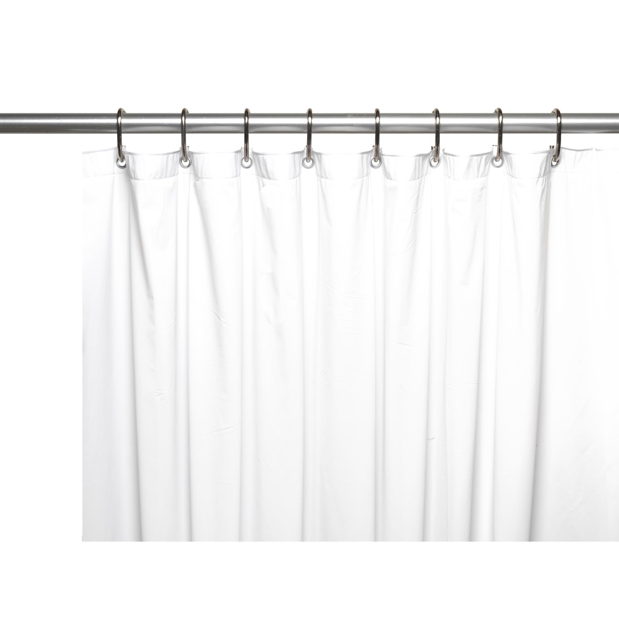 Carnation 3 Gauge Vinyl Shower Curtain Liner Weighted Grommets White