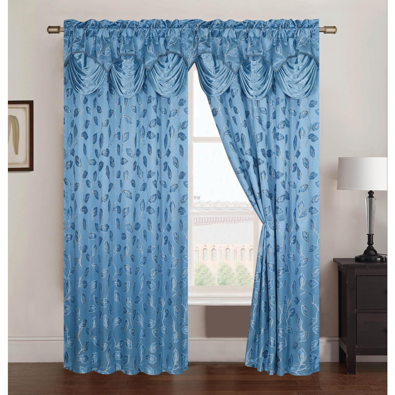 Brenda Jacquard Rod Pocket Curtain Panel 54 X 84 18 Attached Valance Ebay