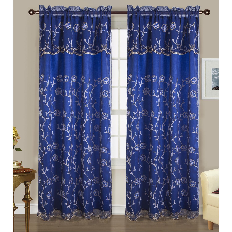 Easton Double Rod Pocket Curtain Panel 54 X 84 18 Attached Valance Ebay