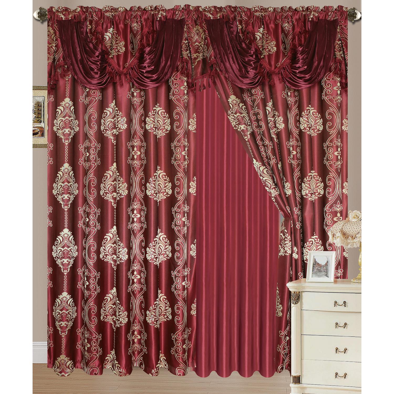Rosetta Jacquard Rod Pocket Double Curtain Panel 54x84 18 Attached Valance Ebay