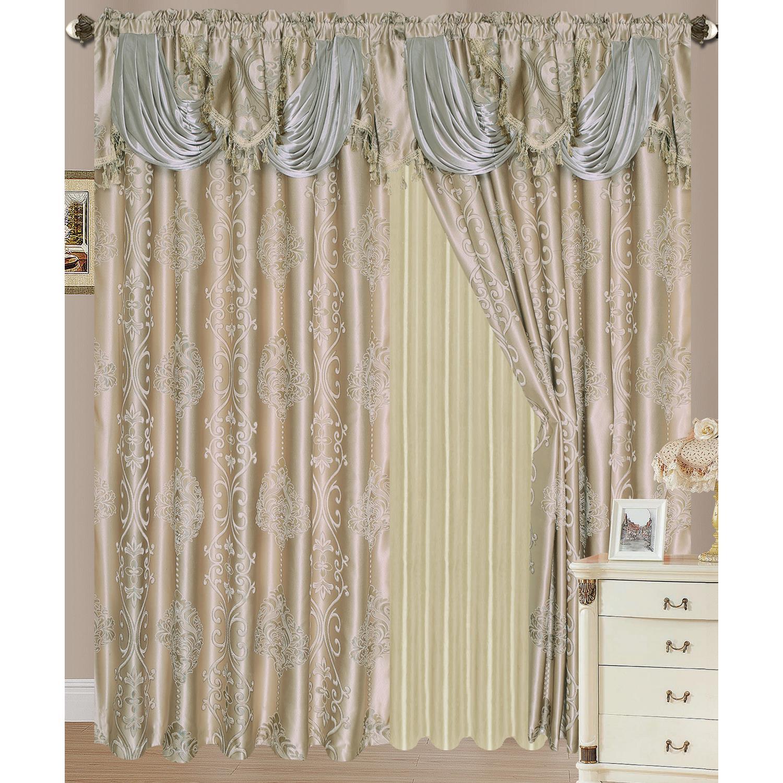 Rosetta Jacquard Rod Pocket Double Curtain Panel 54x84
